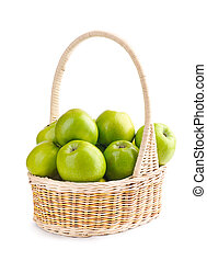 Green apples in a basket on a white background