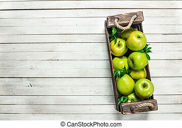 Green apples in a box.