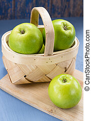 Green Apples in a Wooden Basket