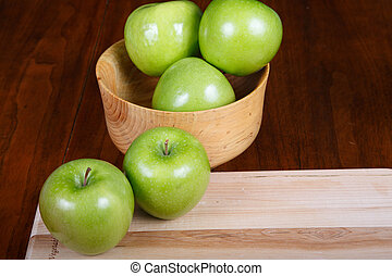 Green Apples in Bowl and on Cutting Board