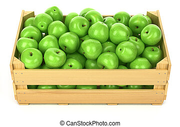 Green apples in the wooden crate isolated