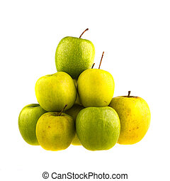 Green apples isolated on white background.