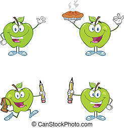 Green Apples Mascot Characters
