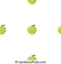 Green apples seamless background. Pattern with organic and eco fruits. Vector illustration.