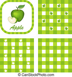 Green Apples, Seamless Gingham