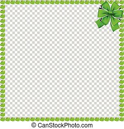 Green apples square frame with festive bow