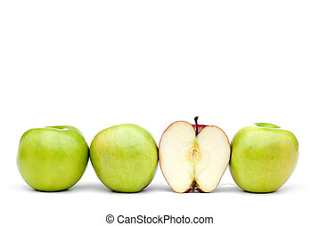 Green apples with an individual eaten red apple