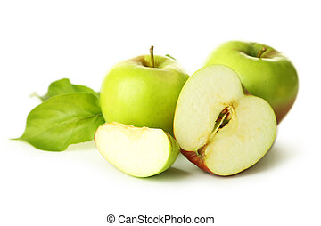 Green apples with leaf isolated on white