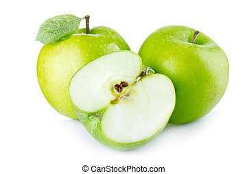 green apples with leaf on white background