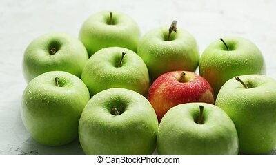 Green apples with red in heap - Composition of ripe and...