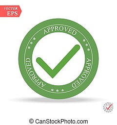 Green Approved stamp on white background