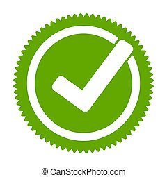 Green approved star sticker. Check mark, tick hook signs in ...