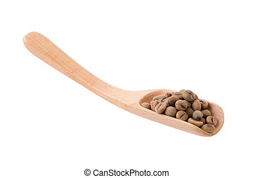 Green Arabica coffee beans in a wooden spoon Isolated on a white background