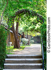 Green arch in a park