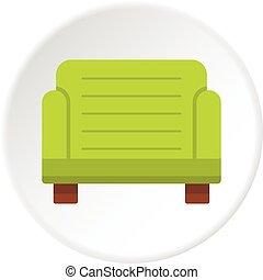 Green armchair icon circle