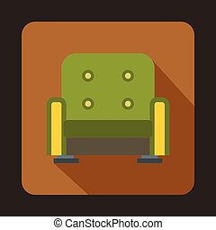 Green armchair icon, flat style