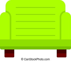 Green armchair icon isolated