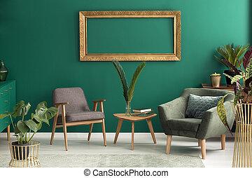 Green armchair in living room