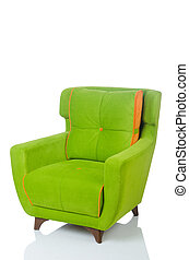 Green armchair isolated on the white