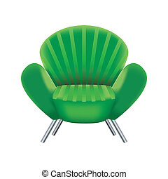 green armchair on white background
