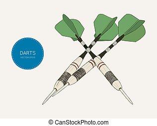 green arrow darts. sketch vector.