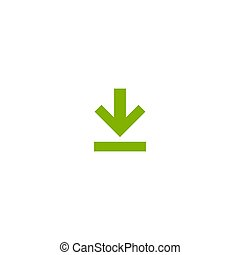 green arrow down icon. flat download sign isolated on white.