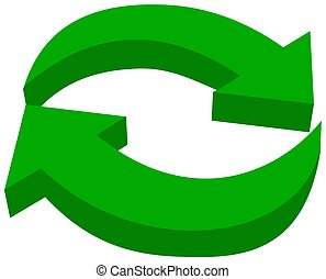 green arrow eco recycling - 3D Illustration