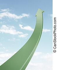 Green arrow going up