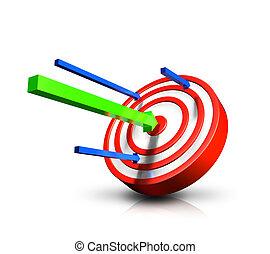 green arrow hitting bulls eye - a green arrow hits bulls eye...