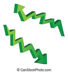 green arrow illustrations for economic concept