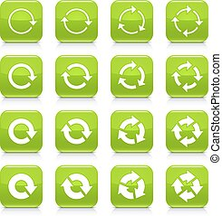 Green arrow repeat sign square icon web button