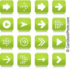 Green arrow sign rounded square icon web button