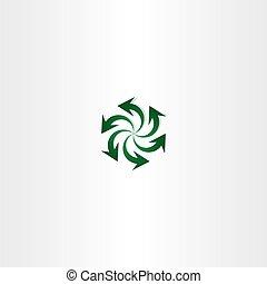 green arrow symbol recycle spiral sign logo
