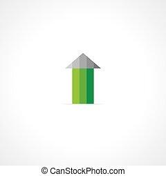 green arrow up concept