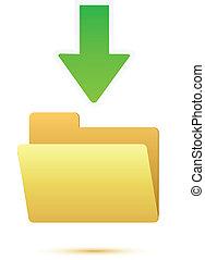 Green arrow with blank folder