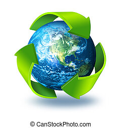 Green arrows around planet Earth Recycling concept 3d symbol