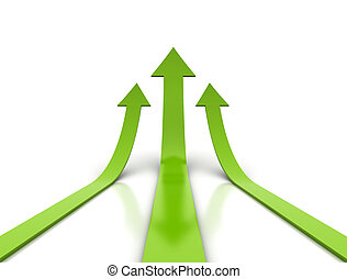Green arrows  - Three green arrows rising