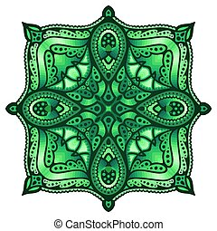 Green art with rhombus in the square shape