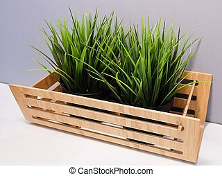 Green Artificial Grass in A Wooden Container