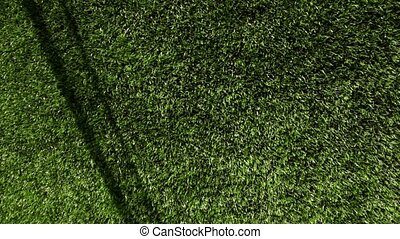 Green artificial grass of football field, part of gate for soccer with net