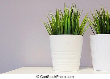 Green Artificial Plant in A Porcelain Pot