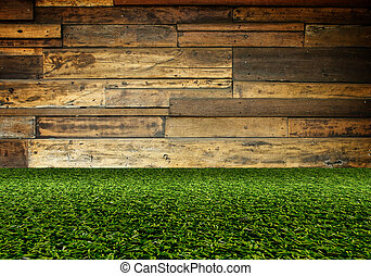 green artificial turf on wooden wall,texture for background
