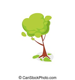 Green ash tree isolated icon