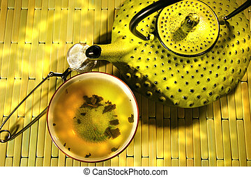 Green asian teapot with cup