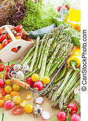 Green asparagus and other fresh vegetables
