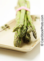 Green asparagus - Bunch of green asparagus on a plate