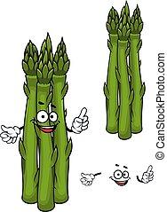 Green asparagus vegetable cartoon character