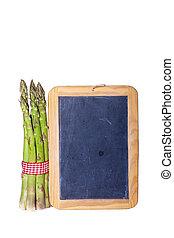Green asparagus with slate