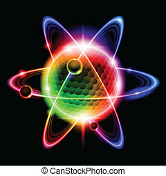 Green atom electron. llustration on black background