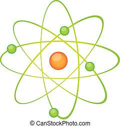 green atom vector - green atom isolated over white...